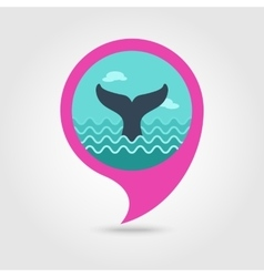 Whale tail pin map icon summer vacation vector