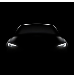 Dark car with headlight vector