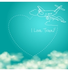 Airplane flying in the sunny blue sky leaving vector image