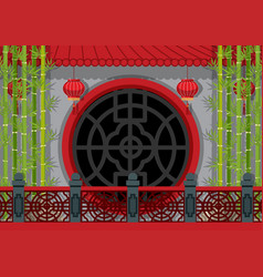 Background theme with chinese wall and bamboo vector