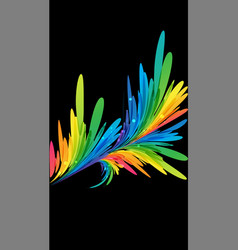 bright colorful branch on black background vector image vector image