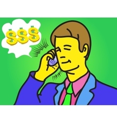 Businessman speak on phone vector