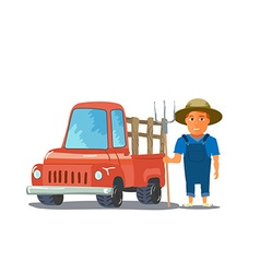 Cartoon farmer character with red pickup truck vector