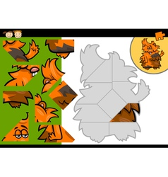 Cartoon guinea pig jigsaw puzzle game vector