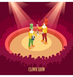 Circus clowns show isometric poster vector