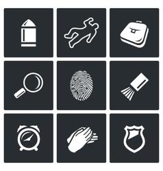 Criminalistics search criminal icons set vector