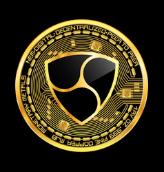 Crypto currency nem golden symbol vector