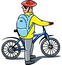 Cyclist with a bike vector