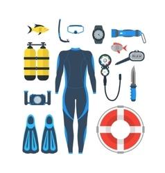 Diving Equipment Set vector image