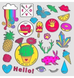 Fashion badge elements in cartoon 80s-90s comic vector
