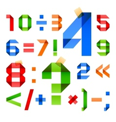 Font folded from colored paper - Arabic numerals vector image vector image