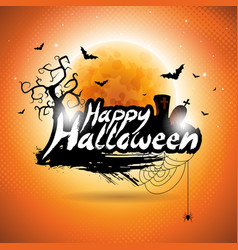 happy halloween with bats cemetery and moon on vector image vector image