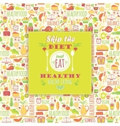 Healthy eating background with quote vector image