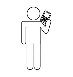 Human figure with cellphone device isolated icon vector
