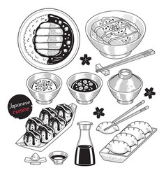 japan food doodle elements hand drawn style vector image