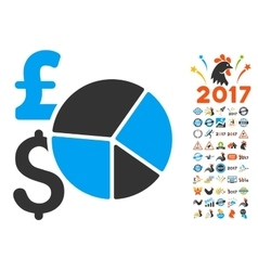Pound and dollar pie chart icon with 2017 year vector