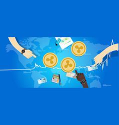 Ripple coin increase exchange value digital vector