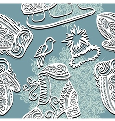 Seamless Ornate Winter Pattern vector image