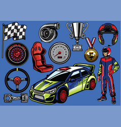 set of rally car color vector image