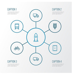 Shipment outline icons set collection of road vector