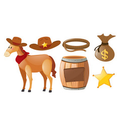 Western cowboy set with horse and elements vector