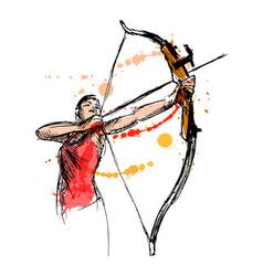 woman shooting a bow and arrow vector image vector image