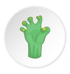 Zombie hand icon cartoon style vector