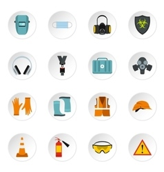 Individual protection icons set flat style vector