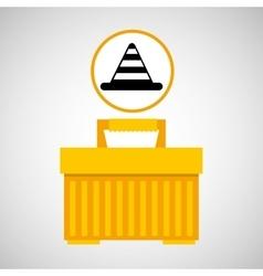 Plastic tool box cone icon vector