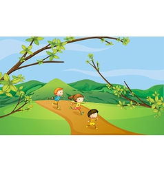 Kids playing in the hills vector