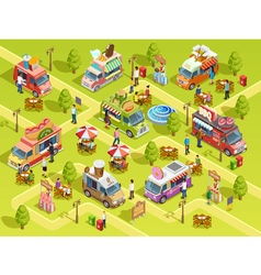 Food trucks outdoors isometric composition poster vector