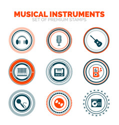 Set of musical instruments premium stamps vector