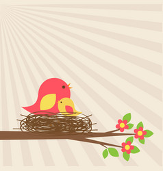 Family of birds in nest on blooming branch vector