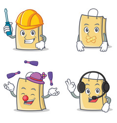Set of bag character with automotive silent vector