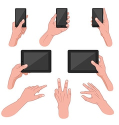 Set of hands using mobile devices vector