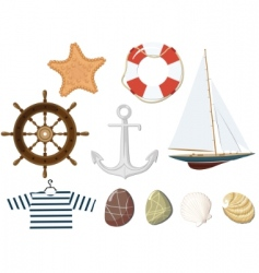 Set of the marine objects vector