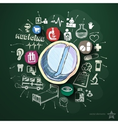 Medical collage with icons on blackboard vector image