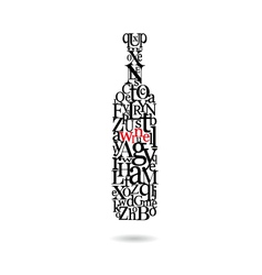 Typography bottle of wine vector image