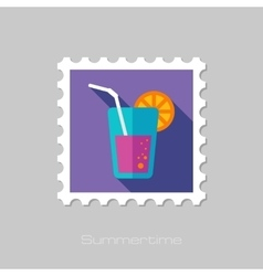 Cocktail flat stamp with long shadow vector