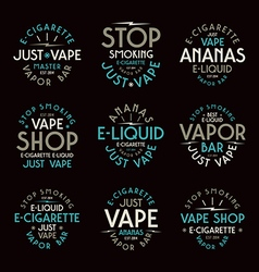 Vape shop typographic labels vector