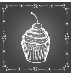 Chalk cupcake with sprinkles and cherry vector