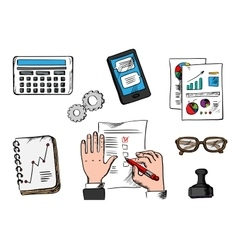 Business management and office icons vector