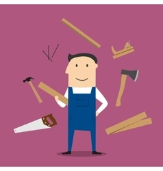 Carpenter man and professional tools vector