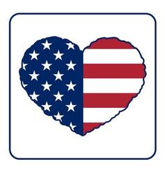 American flag heart vector