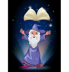 A book above the wizard vector image