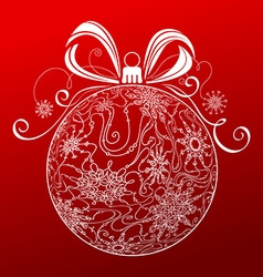 Abstract Christmas ball of snowflakes vector image vector image