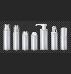 Aluminium spray cans set transparent vector