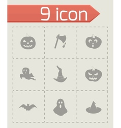 black halloween icons set vector image