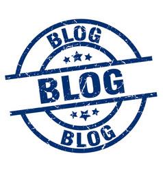 Blog blue round grunge stamp vector