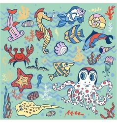 Cartoon Funny Fish Sea Life backgroundPastel vector image